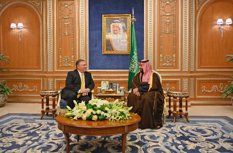 US Secretary of State Mike Pompeo meets with Saudi Crown Prince Mohammed bin Salman in Riyadh in January 2019 (AFP Photo/ANDREW CABALLERO-REYNOLDS)