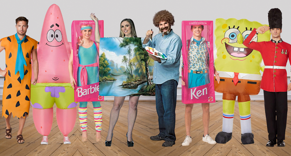 couples halloween costumes including spongebob, barbie and ken, british guard, painting and bob ross, fred flinstone