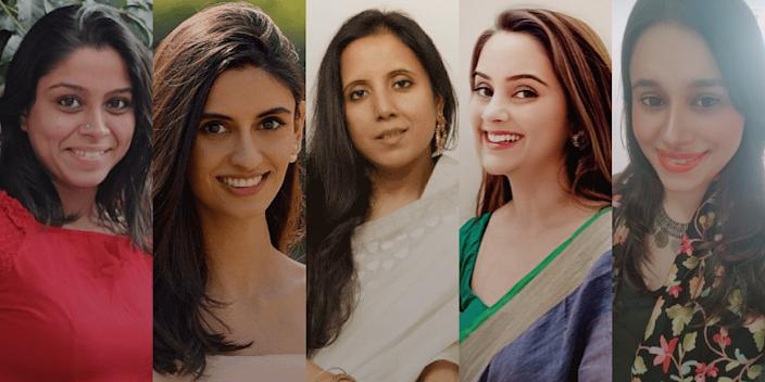 (From L to R) Nisha Natarajan, Founder of Down to Earth; Namrata Parikh, Co-founder of Sanitab; Pallavi Bhardwaj, Founder of Save Well Being; Runki Goswami, Founder of SuRHeal; Vatsala Hali, Founder of Urzuv: The Spirit of Kashmir.