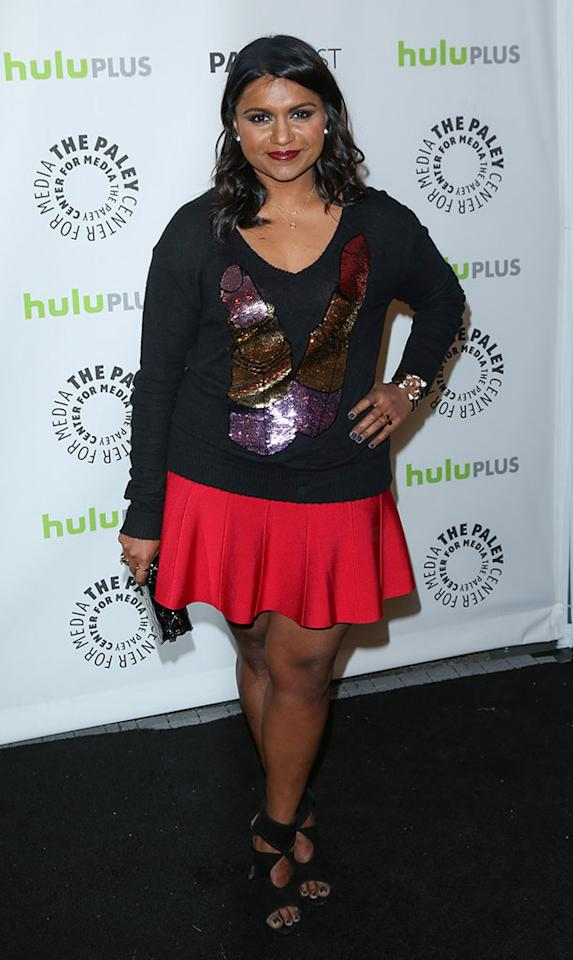 "Mindy Kaling attends the 30th Annual PaleyFest featuring the cast of ""The Mindy Project"" at the Saban Theatre on March 8, 2013 in Beverly Hills, California."