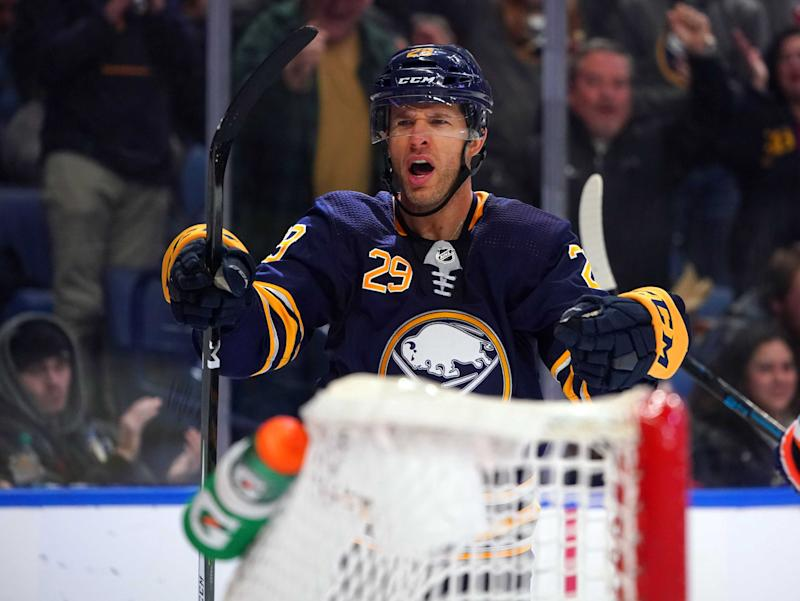 Feb 12, 2019; Buffalo, NY, USA; Buffalo Sabres right wing Jason Pominville (29) celebrates after scoring a goal on the New York Islanders during the second period at KeyBank Center. Mandatory Credit: Kevin Hoffman-USA TODAY Sports