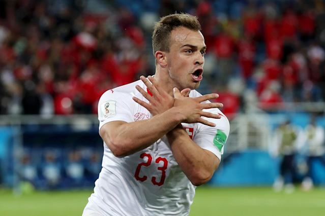 Xherdan Shaqiri of Switzerland celebrates after scoring his team's second goal during the 2018 FIFA World Cup Russia group E match between Serbia and Switzerland at Kaliningrad Stadium on June 22, 2018 in Kaliningrad, Russia. (Getty Images)