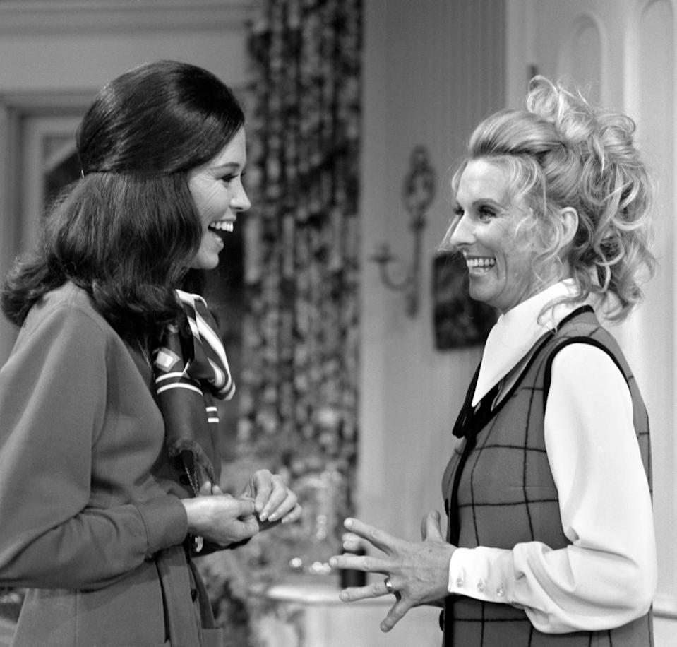 "Mary Tyler Moore and Cloris Leachman star in the Oct. 3, 1970 episode of ""The Mary Tyler Moore Show."" (Photo: CBS via Getty Images)"