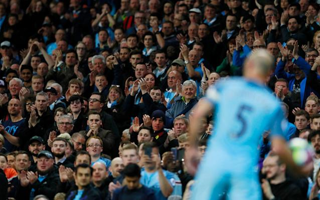 Pablo Zabaleta says an emotional goodbye to the Manchester City fans Credit: Reuters