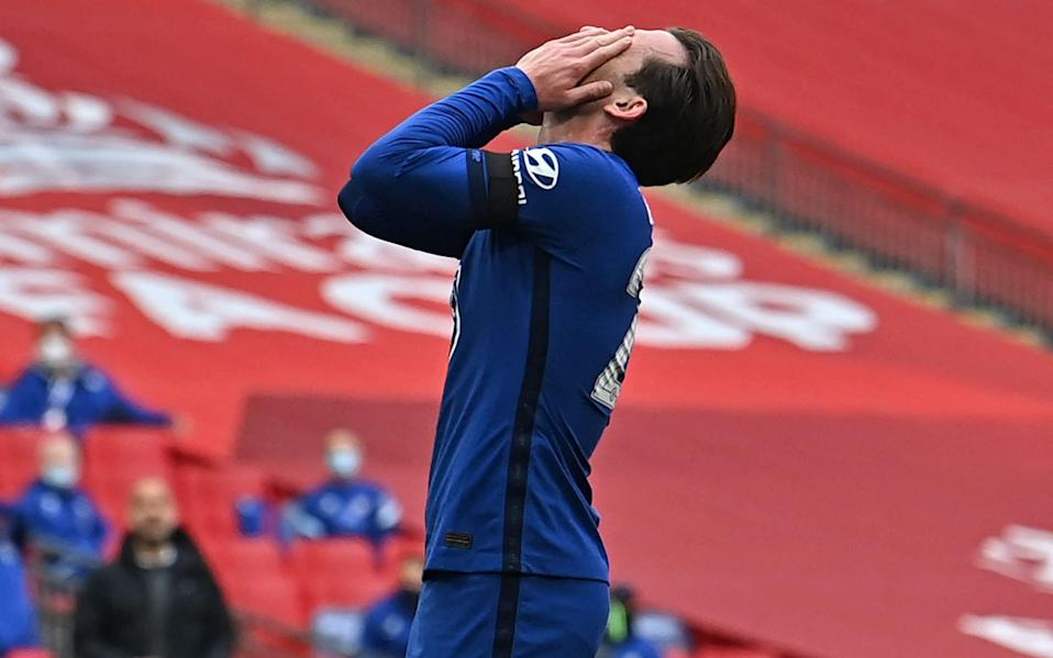 Chelsea's English defender Ben Chilwell reacts after missing a chance during the English FA Cup semi-final football - AFP