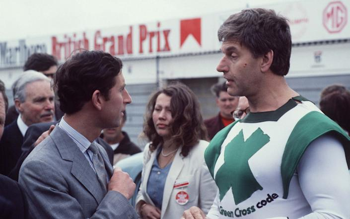 David Prose as the Green Cross Code man, meeting the Prince of Wales at Silverstone - Alpha Press