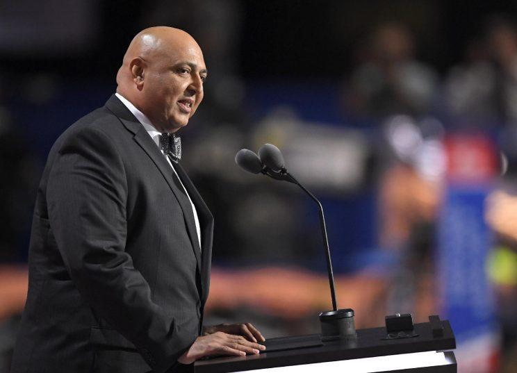 Sajid Tarar, founder of American Muslims for Trump, delivers a benediction at the Republican National Convention in Cleveland, July 19, 2016. (Photo: Mark J. Terrill/AP)