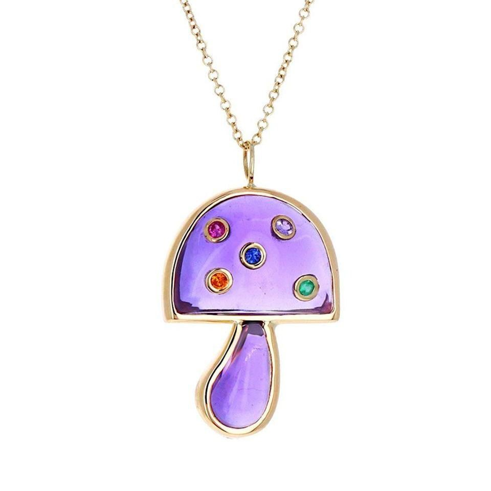 """<p><strong>Breant Neale</strong></p><p>twistonline.com</p><p><strong>$3950.00</strong></p><p><a href=""""https://www.twistonline.com/collections/brent-neale/products/amethyst-and-sapphire-mini-mushroom-pendant-necklace"""" rel=""""nofollow noopener"""" target=""""_blank"""" data-ylk=""""slk:Shop Now"""" class=""""link rapid-noclick-resp"""">Shop Now</a></p><p>Breant Neale champions the idea of repurposing sentimental gemstones and jewelry, reusing and recycling the gold to create upcycled treasures. </p>"""