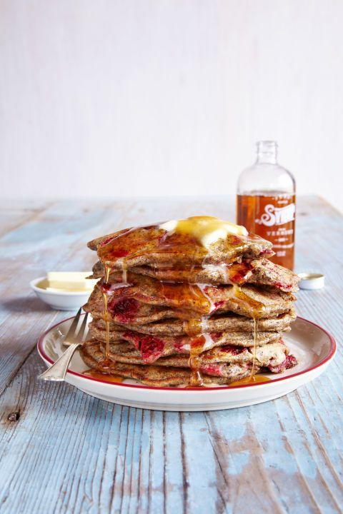 """<p>What better way to greet the start of a new day <em>and</em> a new year than with a big stack of flapjacks? Add chocolate chips, berries, or bananas to this delicious—and nutritious—recipe.<br></p><p><strong><a href=""""https://www.countryliving.com/food-drinks/recipes/a37592/whole-grain-buttermilk-pancakes/"""" rel=""""nofollow noopener"""" target=""""_blank"""" data-ylk=""""slk:Get the recipe"""" class=""""link rapid-noclick-resp"""">Get the recipe</a>.</strong><br></p><p> <a class=""""link rapid-noclick-resp"""" href=""""https://www.amazon.com/T-fal-Specialty-Nonstick-Dishwasher-Cookware/dp/B000EM9PTQ?tag=syn-yahoo-20&ascsubtag=%5Bartid%7C10050.g.34822192%5Bsrc%7Cyahoo-us"""" rel=""""nofollow noopener"""" target=""""_blank"""" data-ylk=""""slk:SHOP SKILLETS"""">SHOP SKILLETS</a></p>"""