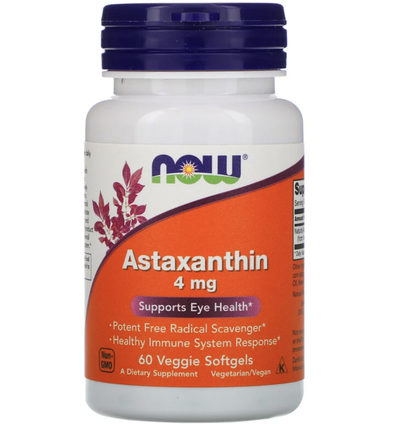 Now Foods, Astaxanthin, 4 mg, 60 Veggie Softgels, S$13.27. PHOTO: iHerb