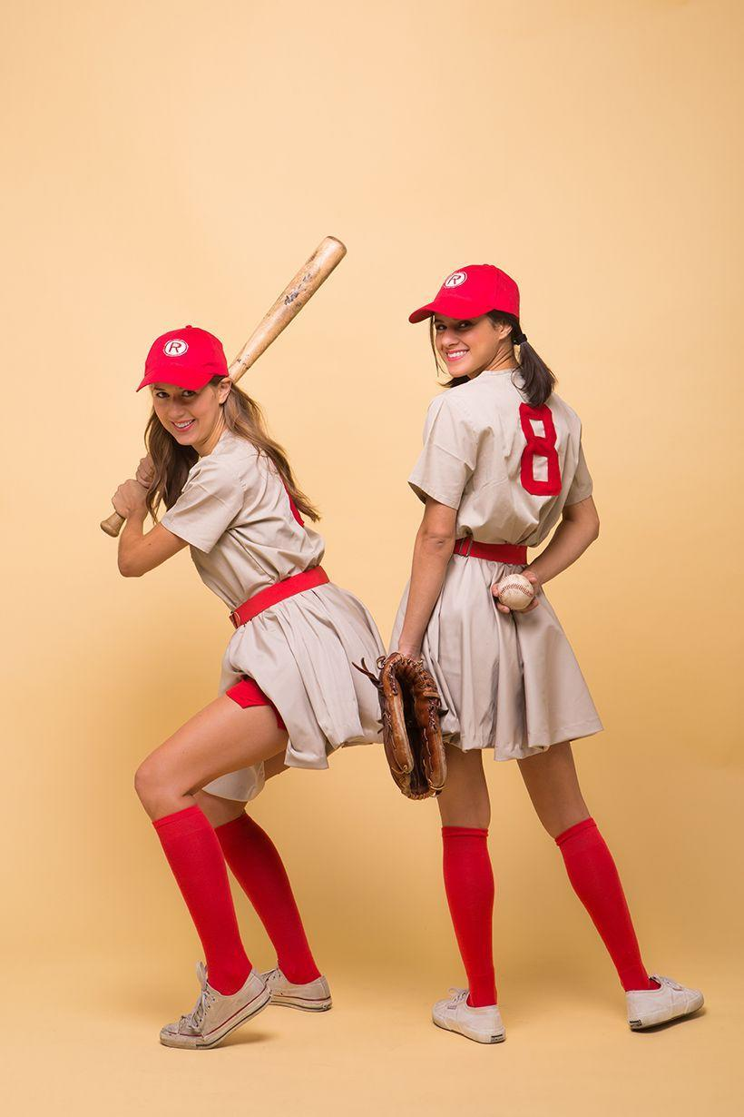 """<p>There's no crying on Halloween! Dressing up as the ladies of the Rockford Peaches will definitely earn you a home run. </p><p><strong><em><a href=""""https://camillestyles.com/design/a-league-of-their-own-costume/"""" rel=""""nofollow noopener"""" target=""""_blank"""" data-ylk=""""slk:Get the tutorial at Camille Styles"""" class=""""link rapid-noclick-resp"""">Get the tutorial at Camille Styles</a>. </em></strong></p>"""