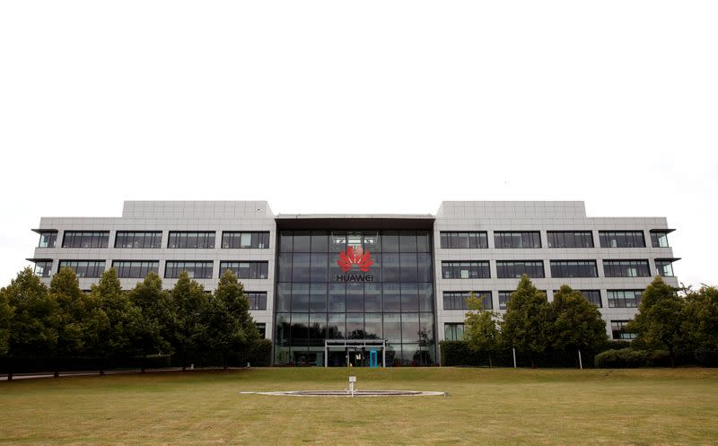 Huawei headquarters building is pictured in Reading