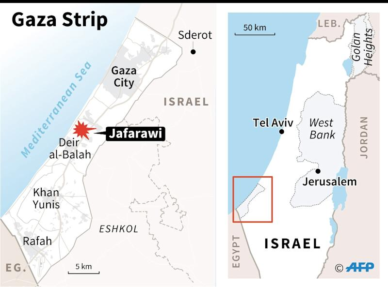 Map of the Gaza Strip and southern Israel, locating Jafarawi, Sderot and Eshkol region (AFP Photo/Sophie RAMIS)