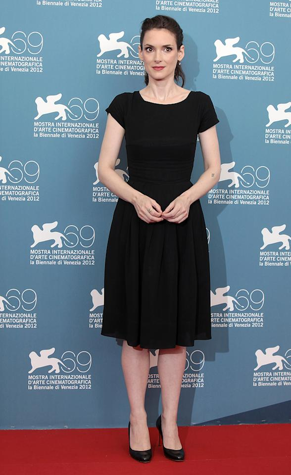 """Winona Ryder attends """"The Iceman"""" Photocall during the 69th Venice International Film Festival at Palazzo del Casino on August 30, 2012 in Venice, Italy."""