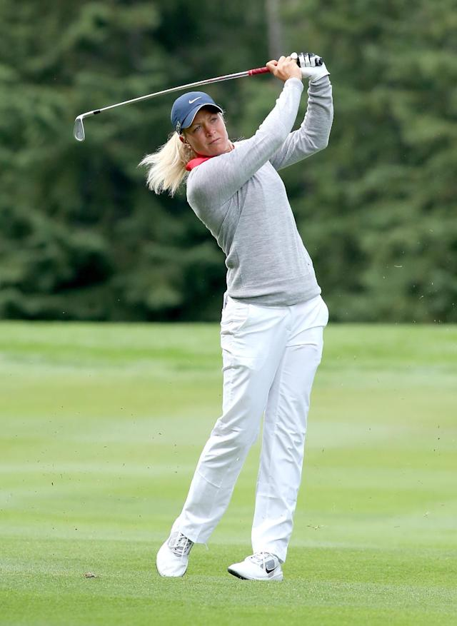 EDMONTON, AB - AUGUST 25: Suzann Pettersen of Norway hits her second shot on the fifth hole during the final round of the CN Canadian Women's Open at Royal Mayfair Golf Club on August 25, 2013 in Edmonton, Alberta, Canada. (Photo by Stephen Dunn/Getty Images)