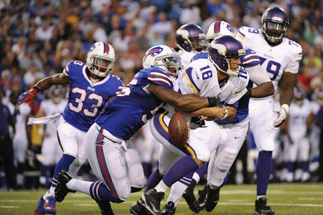 Buffalo Bills' Jerry Hughes (55) sacks Minnesota Vikings' Matt Cassel (16) during the first half of an NFL preseason football game Friday, Aug. 16, 2013, in Orchard Park, N.Y. (AP Photo/Gary Wiepert)