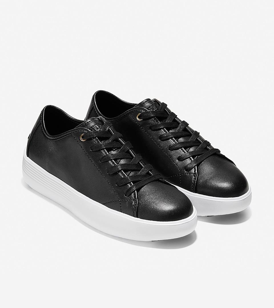 """<br><br><strong>Cole Haan</strong> Grand Crosscourt Flatform Lace-Up Sneaker, $, available at <a href=""""https://go.skimresources.com/?id=30283X879131&url=https%3A%2F%2Fwww.colehaan.com%2Fgrand-crosscourt-flatform-lace-up-sneaker-black-leather-white%2FW13426.html"""" rel=""""nofollow noopener"""" target=""""_blank"""" data-ylk=""""slk:Cole Haan"""" class=""""link rapid-noclick-resp"""">Cole Haan</a>"""
