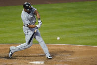 Chicago White Sox's Jose Abreu (79) hits a grand slam during the third inning of an MLB baseball game against the Los Angeles Angels Friday, April 2, 2021, in Anaheim, Calif. Yermin Mercedes, Tim Anderson, and Luis Robert also scored. (AP Photo/Ashley Landis)