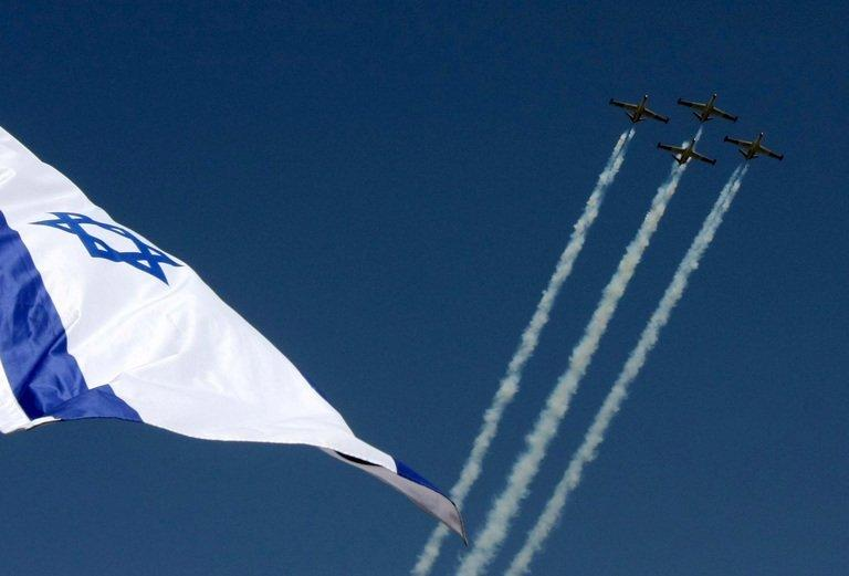 File picture shows Israeli air force jets during a display in Jerusalem