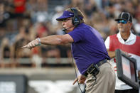 TCU coach Gary Patterson yells out to his players during the first half of an NCAA college football game against Texas Tech, Saturday, Oct. 9, 2021, in Lubbock, Texas. (AP Photo/Brad Tollefson)