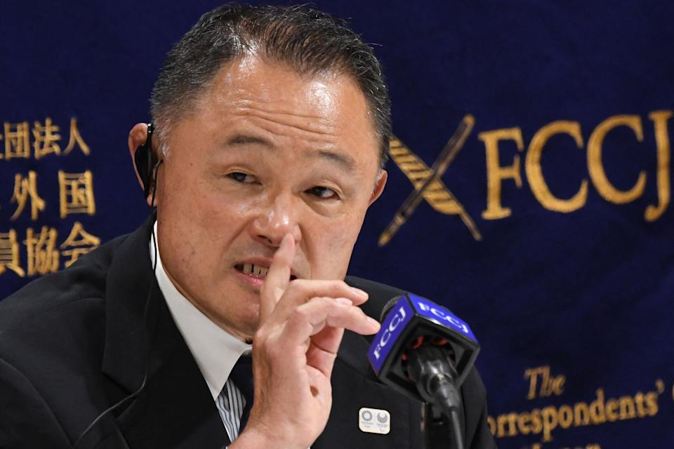 Yasuhiro Yamashita, president of the Japanese Olympic Committee, speaks during a press conference at the Foreign Correspondents' Club of Japan in Tokyo on June 28, 2021.