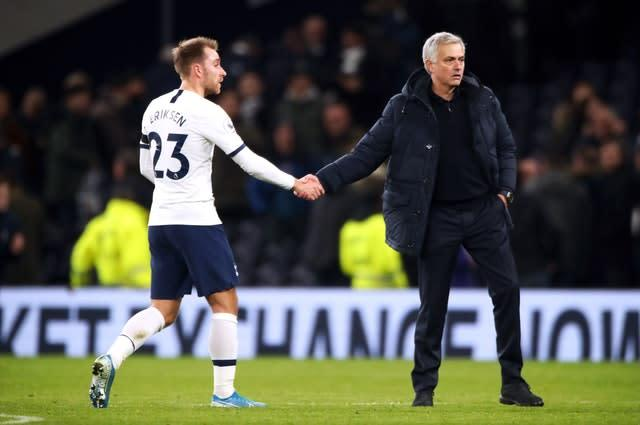 Jose Mourinho, right, may be seeing Christian Eriksen out of the exit door in January (Nick Potts/PA)