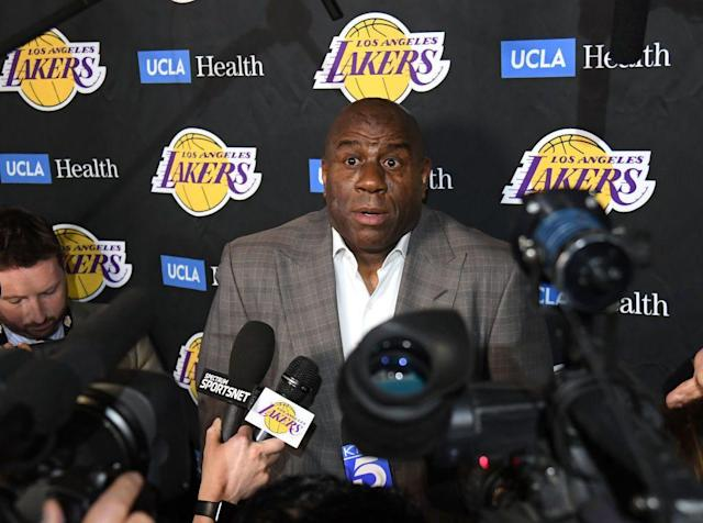 Magic Johnson abruptly announced his resignation to the media before informing the Los Angeles Lakers brass. (Getty Images)