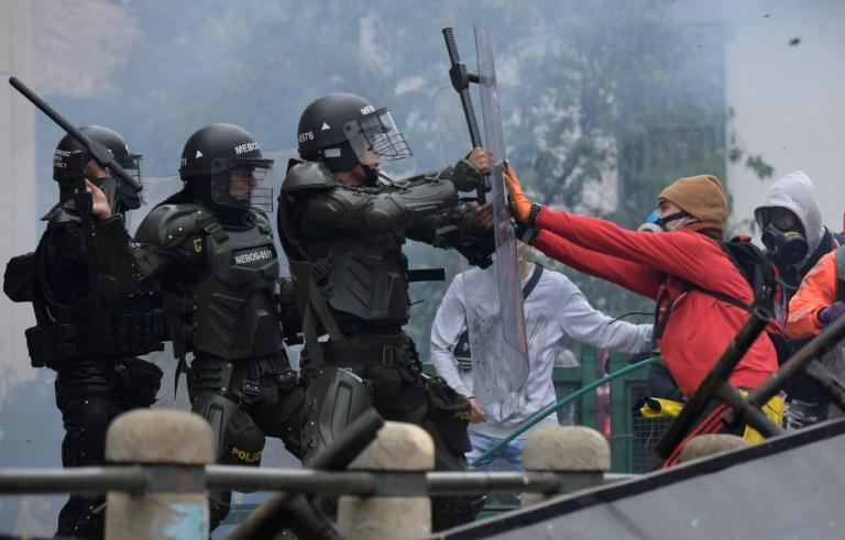 Protesters clashed with police in Bogota