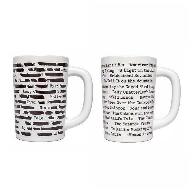 """<p>Fill with coffee or tea and watch the black lines morph away to reveal the book titles.</p><p><a rel=""""nofollow"""" href=""""https://www.uncommongoods.com/product/banned-books-morph-mug"""">BUY NOW</a>: $12<span></span></p>"""