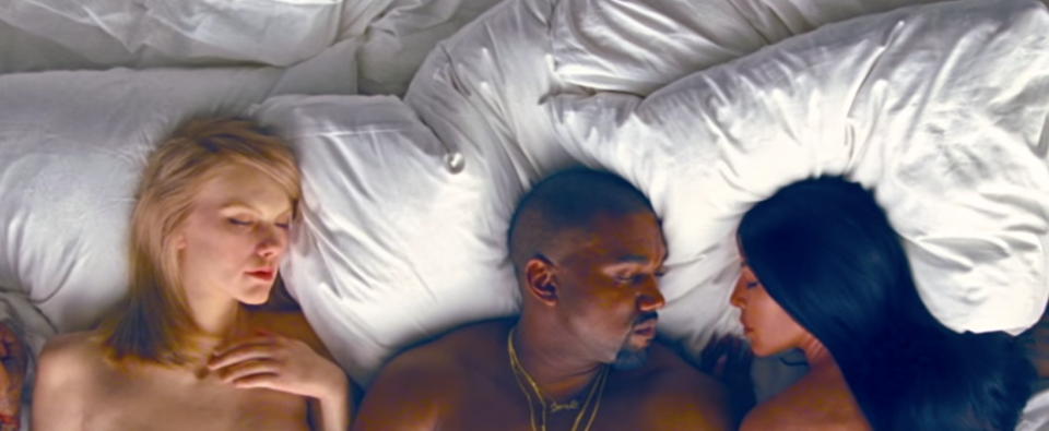 """With the help of wax figures, Taylor Swift, Kim Kardashian and other celebrities star in Kanye West's """"Famous"""" video. (Photo: YouTube)"""