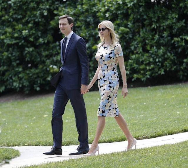 Ivanka Trump and Jared Kushner walk out to join President Trump aboard Marine One for the trip to Andrews Air Force Basein May. (Photo: Pablo Martinez Monsivais/AP)