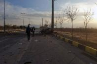 A view shows the site of the attack that killed Prominent Iranian scientist Mohsen Fakhrizadeh, outside Tehran