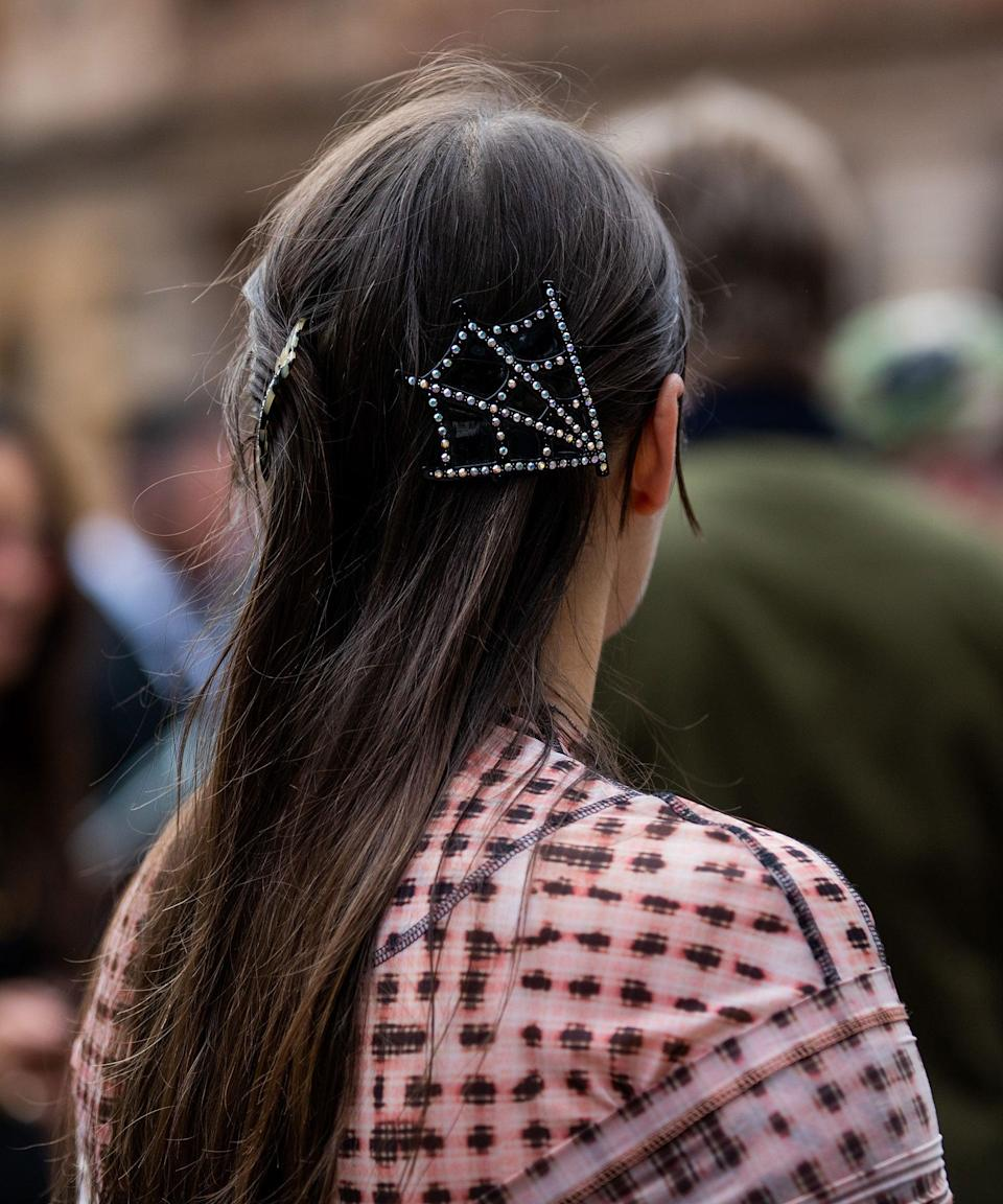 """Studded with diamantes, this spider web hair clip is giving us Halloween vibes. Not long now...<span class=""""copyright"""">Photo by Christian Vierig/Getty Images</span>"""