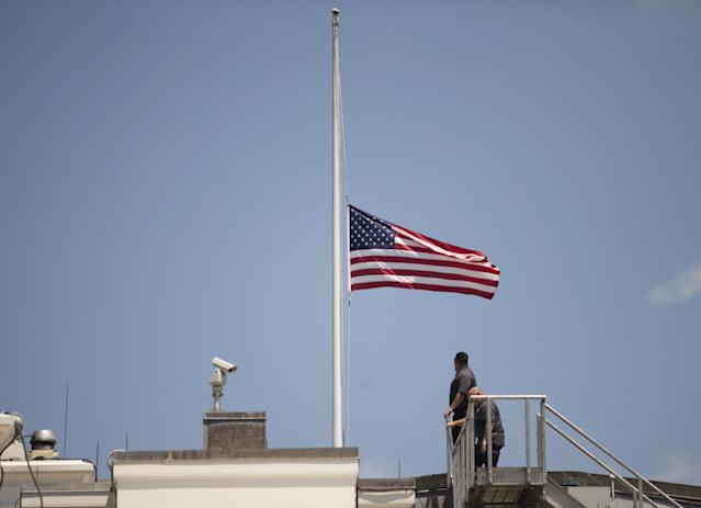 <p>The American flag is flown at half staff over the White House in Washington, June 12, 2016, after President Barack Obama spoke about the massacre at an Orlando nightclub. (AP Photo/Manuel Balce Ceneta) </p>