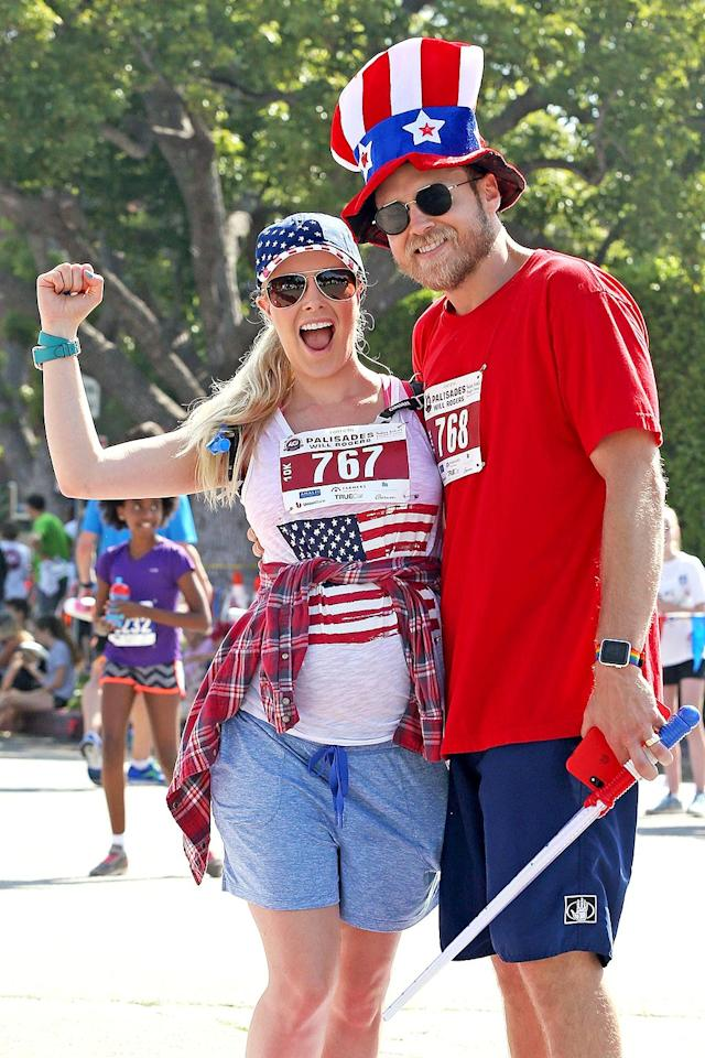 <p>Please, please tell us that neither of the reality stars will ever run for office. They sure looked patriotic at an Independence Day fun run. (Photo: Mr Plow/BACKGRID) </p>
