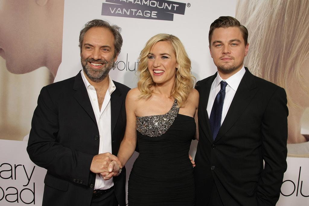 """<a href=""""http://movies.yahoo.com/movie/contributor/1800018631"""">Sam Mendes</a>, <a href=""""http://movies.yahoo.com/movie/contributor/1800019032"""">Kate Winslet</a> and <a href=""""http://movies.yahoo.com/movie/contributor/1800020898"""">Leonardo DiCaprio</a> at the Los Angeles premiere of <a href=""""http://movies.yahoo.com/movie/1809883886/info"""">Revolutionary Road</a> - 12/15/2008"""