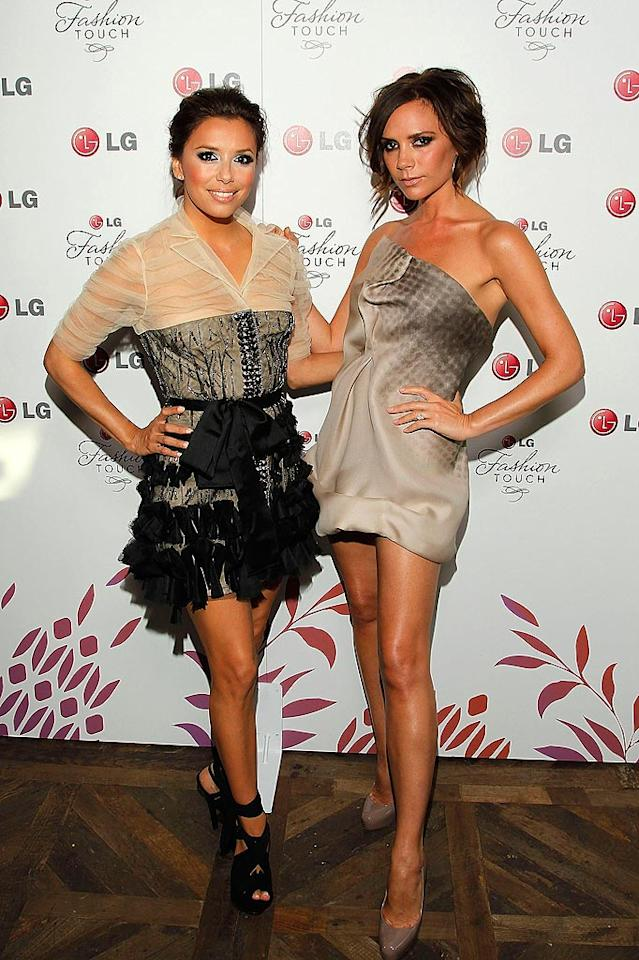"""Eva Longoria, in a ruffled and beaded Reem Acra mini, joined her co-host, Victoria Beckham, on the red carpet for """"A Night Of Fashion & Technology With LG Mobile Phones"""" in LA Monday. Posh was wearing one of her own designs, natch. Mathew Imaging/<a href=""""http://www.wireimage.com"""" target=""""new"""">WireImage.com</a> - May 24, 2010"""