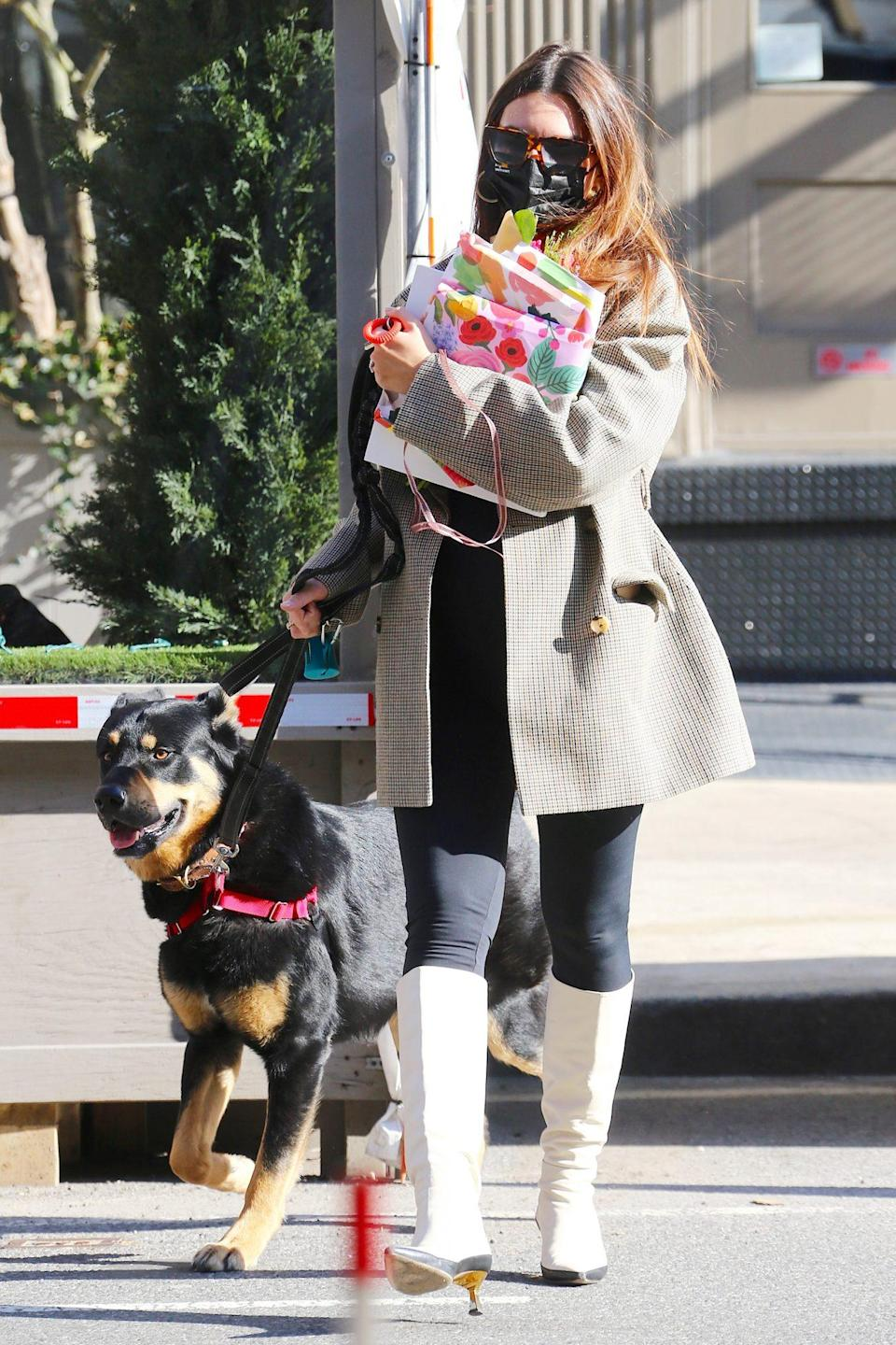 <p>Emily Ratajkowski heads home with her dog and a handful of presents after having lunch at Odeon restaurant on Wednesday in N.Y.C.</p>