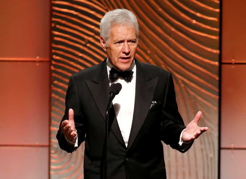 FILE PHOTO: Jeopardy television game show host Trebek speaks on stage during the 40th annual Daytime Emmy Awards in Beverly Hills