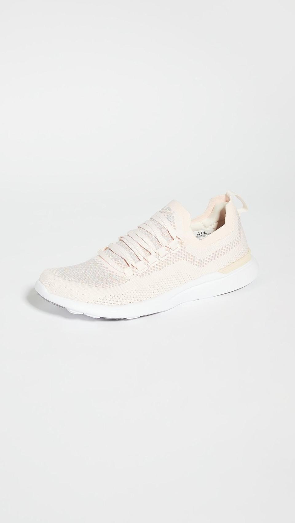 <p>These cool beige <span>APL Techloom Breeze Sneakers</span> ($200) were made for working out, but they're also so cute.</p>