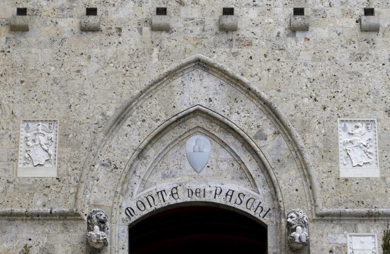The entrance of the Monte dei Paschi bank headquarters is seen in Siena