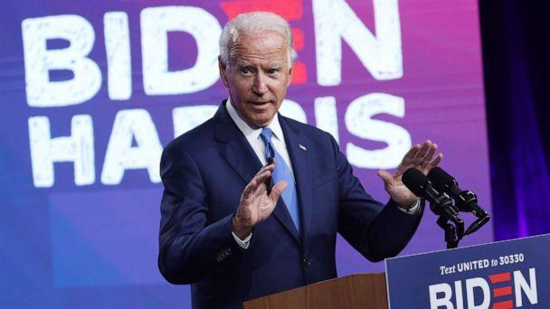 PHOTO: Democratic presidential nominee Joe Biden speaks on the coronavirus pandemic during a campaign event, Sept. 2, 2020, in Wilmington, Del. (Alex Wong/Getty Images)