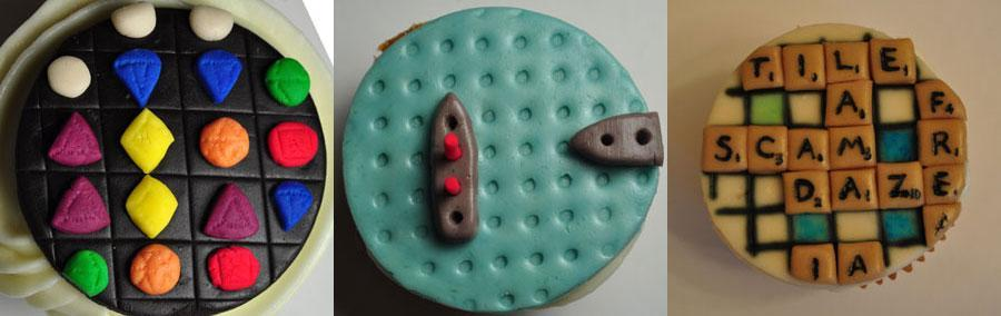 Bejeweled, Battleship and Scrabble Cupcakes