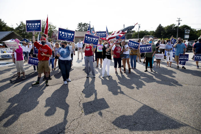 Trump supporters wait for Lara Trump in Old Orchard Beach, Maine, on July 22 during a stop on the Women for Trump bus tour. (Derek Davis/Portland Press Herald via Getty Images)