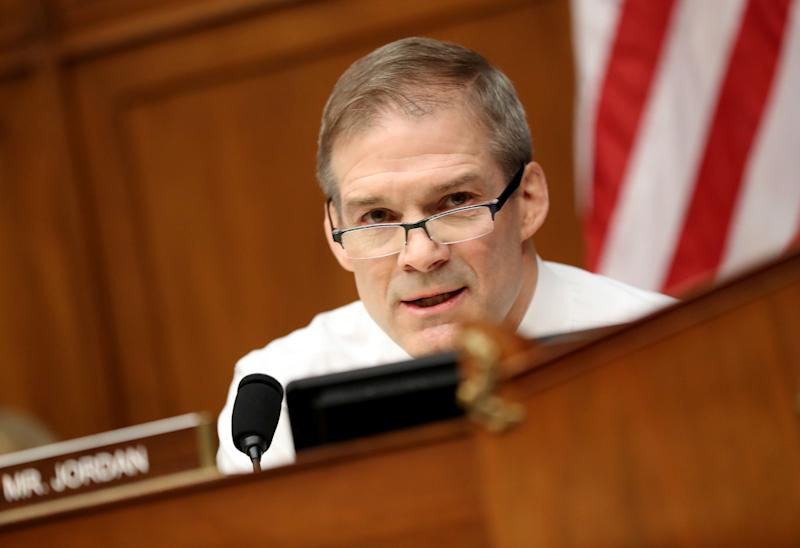 Representative Jim Jordan, a Republican from Ohio and ranking member of the House Oversight Committee, speaks during a hearing with Michael Cohen, former personal lawyer to U.S. President Donald Trump, not pictured, in Washington, D.C., U.S., on Wednesday, Feb. 27, 2019. Cohen plans to tell a congressional committee about alleged misdeeds by his former boss, claiming that Trump knew during the 2016 presidential election that his ally Roger Stone was talking to Julian Assange of WikiLeaks about a release of hacked Democratic National Committee emails. Photographer: Andrew Harrer/Bloomberg via Getty Images