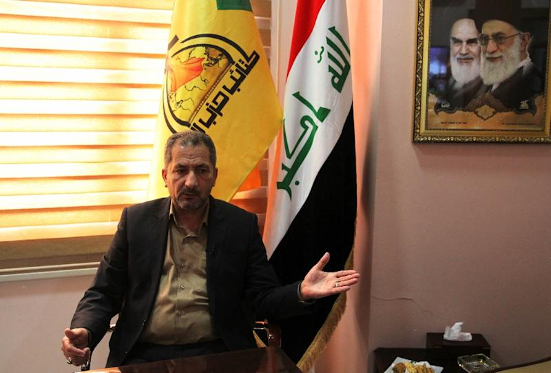 Mohammed Mohie, spokesman for the Hezbollah Brigades in Iraq, a force close to Iran that has also fought on the side of President Bashar al-Assad in Syria, speaks during an interview in Baghdad on February 5, 2019 (AFP Photo/AHMAD AL-RUBAYE)