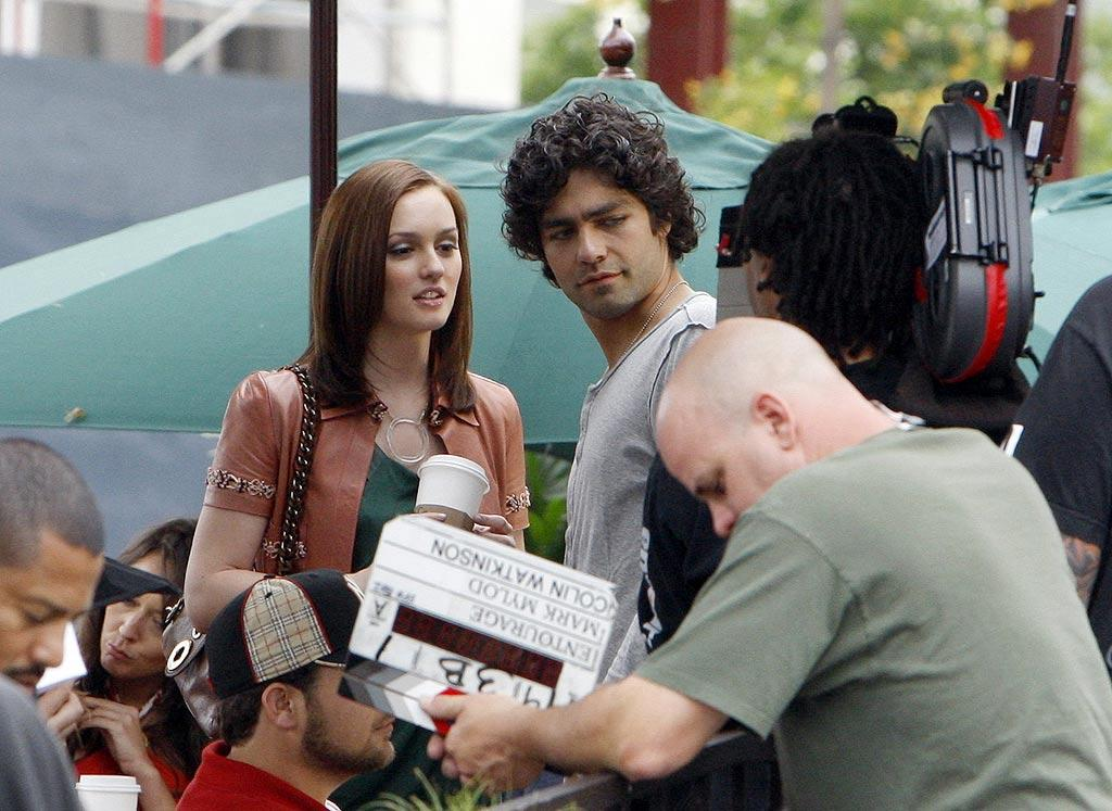 """Leighton Meester shot scenes for her guest appearance on """"Entourage"""" on Wednesday. The """"Gossip Girl"""" star will be reprising her role as pop singer Julie Chapin, a love interest of Vinnie Chase's (Adrian Grenier) from the program's first season. <a href=""""http://www.infdaily.com"""" target=""""new"""">INFDaily.com</a> - May 7, 2008"""