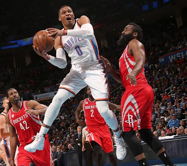 """<a class=""""link rapid-noclick-resp"""" href=""""/nba/players/4390/"""" data-ylk=""""slk:Russell Westbrook"""">Russell Westbrook</a> and James Harden have both elevated their games this season. (Getty Images)"""