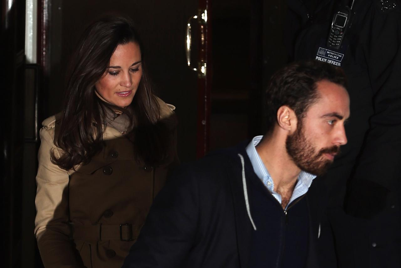 LONDON, ENGLAND - DECEMBER 05:  Pippa Middleton and James Middleton leave the King Edward VII Private Hospital on December 5, 2012 in London, England. Their sister Catherine, Duchess of Cambridge is spending a third day in the King Edward VII Hospital after the announement of her pregnancy and the fact she was suffering from hyperemesis gravidarum or acute morning sickness.  (Photo by Dan Kitwood/Getty Images)