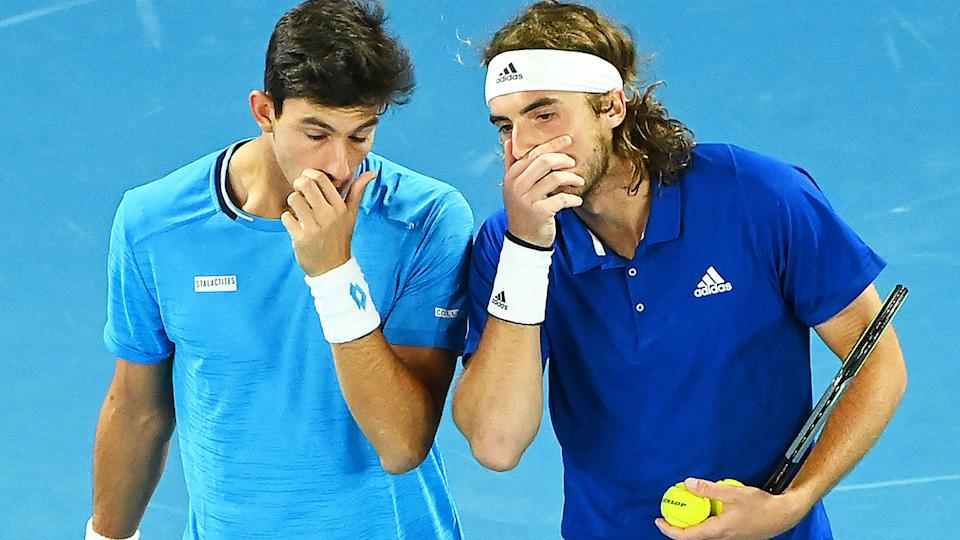 Michail Pervolarakis and Stefanos Tsitsipas, pictured here at the ATP Cup.